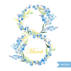 March 8, spring, flowers, card, symbol, mimosa, wreath,