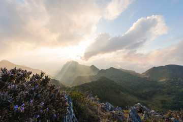 Sunset at the mountain range