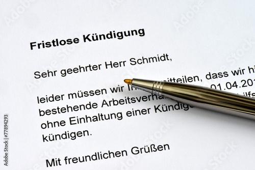 Fristlose Kündigung Arbeitsverhältnis Arbeitsrecht Entlassung