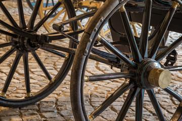 Details of old vintage carriage wheels