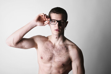 Sexy man poses