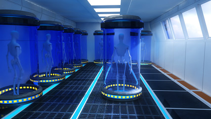 Futuristic interior and capsules