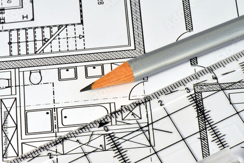 Bauplan lineal haus zeichnung eigenheim konstruktion for Bauplan haus