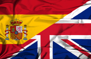 Waving flag of United Kingdon and Spain