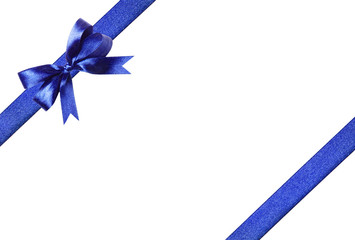 Blue-yellow fabric ribbon and bow. Isolated