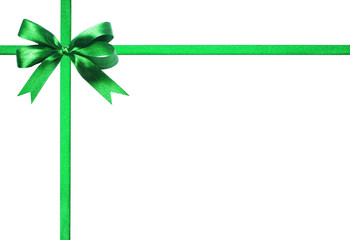 Green ribbon and bow. isolated