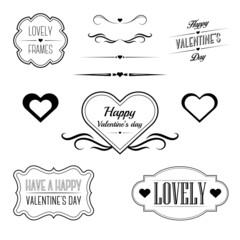 Set of decorative frames related to love and Valentine's day