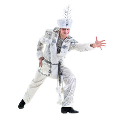 dancer man wearing carnival snowflake costume dancing