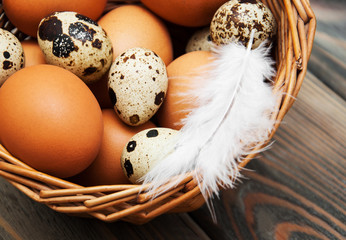 different types of eggs in a basket