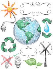 Recycling and conservation doodles