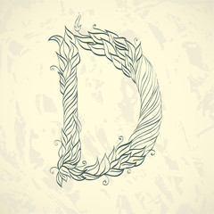 Hand drawn ornate letter d