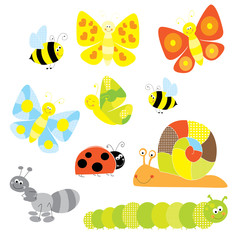 spring set of happy little creatures - vectors