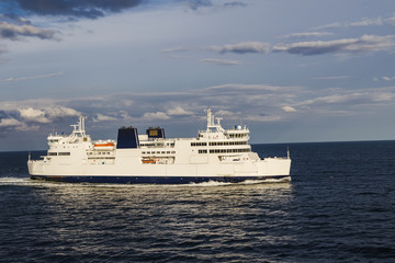 A ferry sailing through the strait