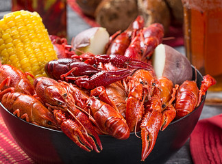 Canvas Prints Seafoods Creole style crawfish boil