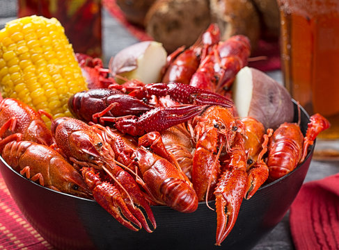 Creole style crawfish boil
