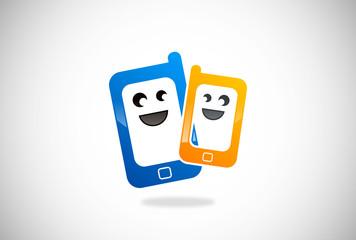 smile mobile phone vector logo