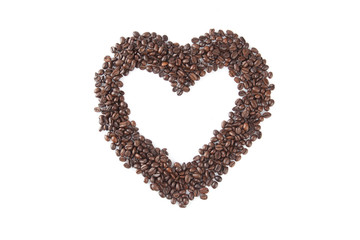 Roasted coffee beans in heart shape
