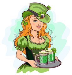 Patrick girl holding a tray of green beer
