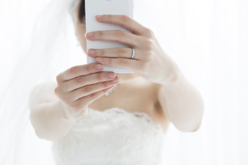 Bride you are taken with a mobile phone