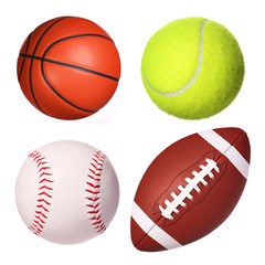 Sport balls collection isolated on white