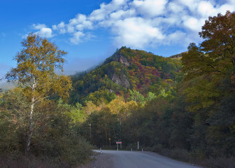 Autumn road in the Sikhote-Alin mountains.