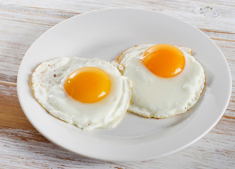 Fond de hotte en verre imprimé Ouf Two fried eggs for healthy breakfast