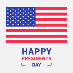 American flag Presidents Day background flat design Isolated