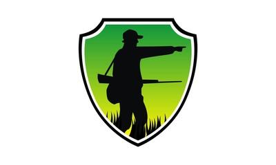 hunter silhouette badge shield image logo