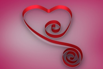 Wall Mural - Red ribbon in a heart shape