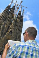 Tourist in La Sagrada Familia in Barcelona, Spain