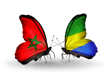 Two butterflies with flags Morocco and Gabon