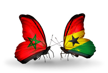 Two butterflies with flags Morocco and Ghana