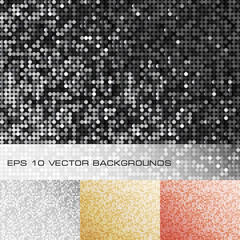 Set of sparkle sequin backgrounds