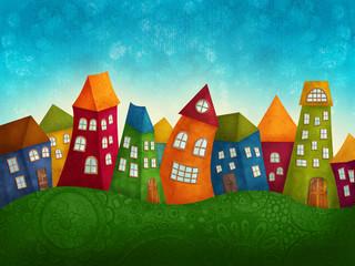Fantasy kolorowe domy