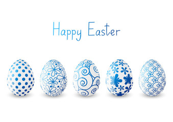 Set of Easter eggs with blue patterns