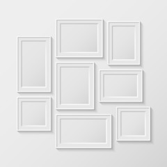 set of white picture frames