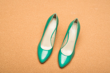 green high heels shoes