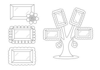 linear cute cartoon frames