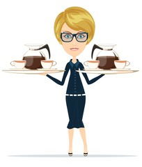 The waitress holding a tray of drink, vector illustration