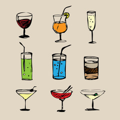 Cocktails  hand drawn