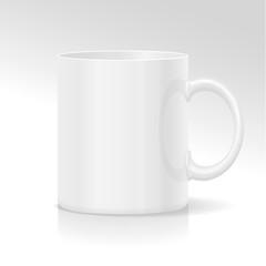 White ceramic mug. Isolated on a white.