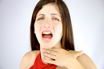 Beautiful woman having voice problem