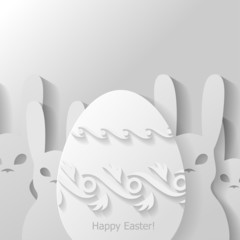 Background with Easter eggs surrounded by rabbits