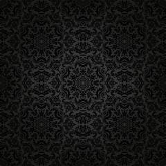 Damask Seamless  Pattern. Orient Dark Background