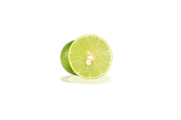 Closed up cross of fresh lime lemon and shadow effect