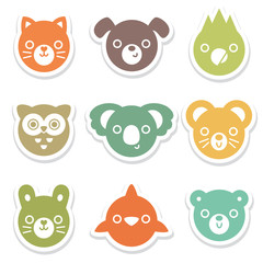 set of colorful animal and bird face stickers