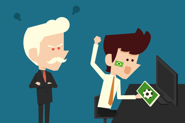 angry boss and goofing businessman