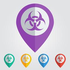 Vector biohazard sign in pin