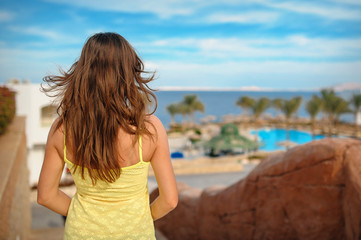 woman on vacation looking at sea Egypt