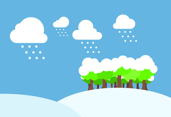 Winter day with snow field. Illustration.